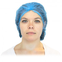 "Blue Pleated Bouffant Caps (21-24"")"